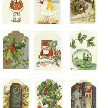 Digital Christmas Gift Tags Set 2 - 9 Old Fashioned Holiday Images -  PRINTABLE DOWNLOAD - Digital Designed Art - Gift Wrap - DIY