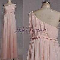Long Pink One Shoulder Bridesmaid Dresses,Pink Chiffom Prom Dresses,Long Homecoming Dresses,Formal Party Grown 2015