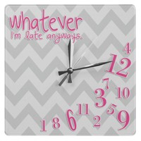 whatever - hot pink on gray and white chevron from Zazzle.com