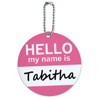 Tabitha Hello My Name Is Round ID Card Luggage Tag