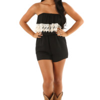 Trading Laces Romper: Black/Ivory