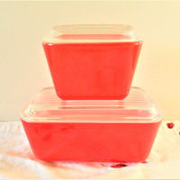 Red PYREX Refrigerator Dishes, PYREX RED 501 and 502 Friggies, Multicolor 501, Friendship 502, Primary Red Refrigerator Storage Dishes