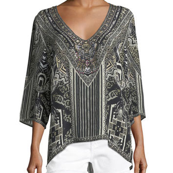 Camilla V-Neck Embellished Oversized Blouse