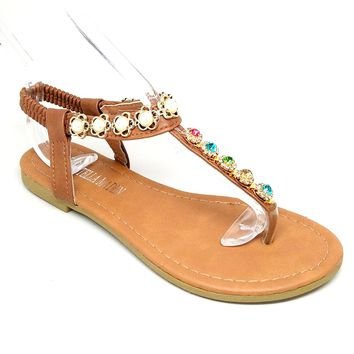 Women's Camel Sandal with Multiple Colored Rhinestones