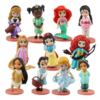 Disney Princess 11Pcs Action Figures 8cm Moana Snow White Merida Mulan Mermaid Tiana Jasmine Dolls Kids Toys Children Collection