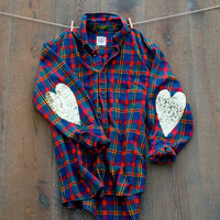 Sequin Heart Elbow Patch Flannel Shirt The Boyfriend Hipster Dazzle Flannel Shirt Boyfriend Flannel with Sequin Heart Elbow Patches