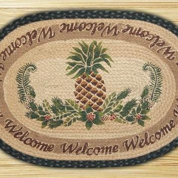 Pineapple/Welcome 730 Hand Printed Rug