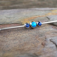 Sapphire Blue Opal Industrial Barbell Piercing Upper Double Ear Piercing 14 Gauge