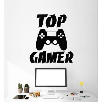 Vinyl Wall Decal Top Gamer Video Game Room Computer Joystick Stickers Mural (g2748)