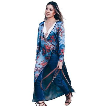 Vintage Women Plus Size Kimono Floral Bird Print V Neck Tied Ethnic Oriental Outerwear Cover Up Cardigan Casual Long Shirt Blue