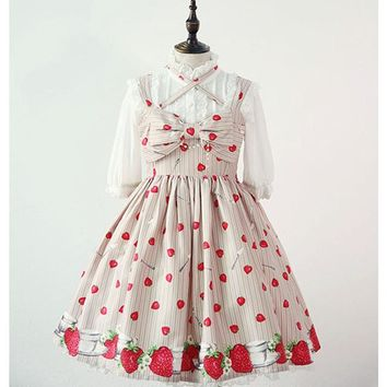 High Quality Princess Dresses Japanese Lolita Style Print Strawberry Bow Ball Gown Empire Knee Length Cute Girl Short Dresses
