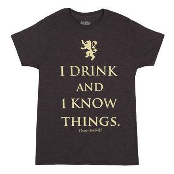Game Of Thrones I Drink And I Know Things Licensed Adult Unisex T-Shirt - Grey