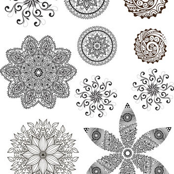 Mandala Tattoos Full Sheet Temporary Tattoos Body Art