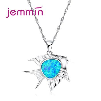 Jemmin Unique Fish Pendant 2017 New High-End 925 Sterling Silver Stylish Jewelry Fashion Blue Opal Animal Pendant Necklace Hot