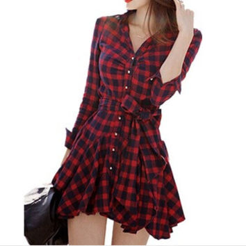 Korean Slim Long Sleeve Plaid Winter Blouse Dress Pleated One Piece Dress [4920339844]