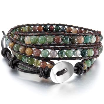 Men Women Alloy Charm Genuine Leather  Adjustable Vintage Bracelet Bangle Cuff Rope Bead 3 Wrap Free Shipping