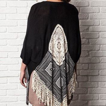 Plus Size Dream Catcher Kimono - Black