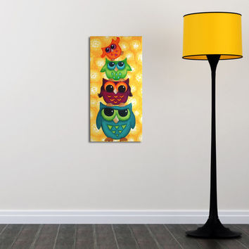 Look Whooo's On Top / Original Owl Painting / Whimsical Art / Owl Decor / Colorful Owl Totem
