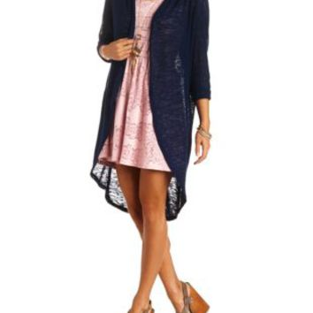 Sheer Slub Knit Cocoon Duster Cardigan by from Charlotte Russe