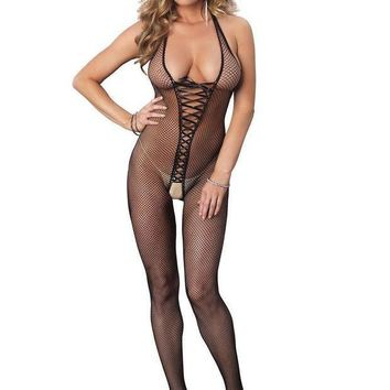 ESBI7E Bare bottom backless fishnet halter bodystocking with lace up front in BLACK