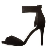 Black Qupid Peep Toe Ankle Strap Heels by Qupid at Charlotte Russe