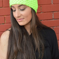 Neon Lime HandKnitted Headband With Sequins Star by TwinBears