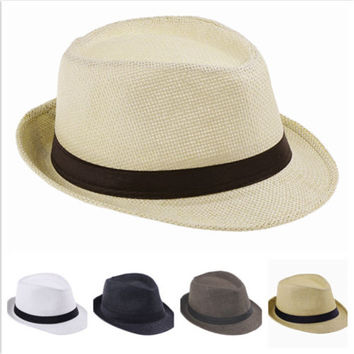 Hot Style Child Kid Jazz Beach Fedora Trilby Gangster Cap Summer Sunhat Straw Panama Hat For Boys Girls