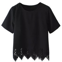 Black Lace Trim Short Sleeve Blouse