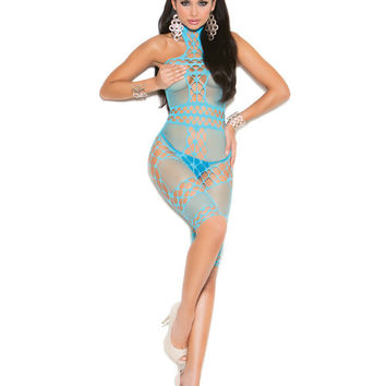 Vivace Crochet & Fishnet Halter Neck Mid Length Bodystocking Turquoise O-s