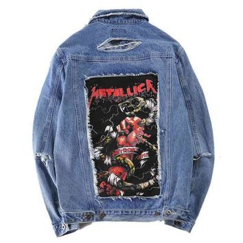 Trendsetter Metallica Fashion Print Ripped Distressed Denim Cardigan Jacket Coat
