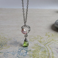 Peridot Necklace, Lavendar Pearl Pendant, June & August Birthstone Jewelry, Sterling Silver Chain, Green Gemstone