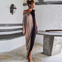 2016 Summer Maxi Dress 100% High quality Women Casual Loose Off Shoulder Long Dresses plus size Office Dress