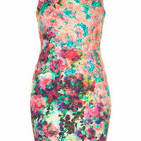 PHOTO FLORAL COLUMN DRESS
