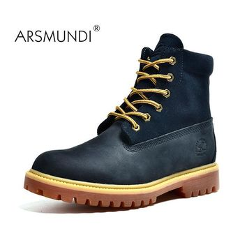 ARSMUNDI 2017 Autumn Men's Genuine Leather Boots Working Boots Mountain Shoes Vintage