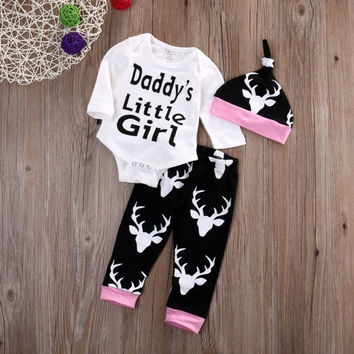 New Baby Girls Casual O-Neck Letter And Animal Prints Tops And Long Pants With Hat Outfits Set