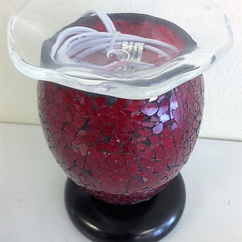 Vitral Mosaic Brown/Red lamp, aromatic oil burner, wax melter