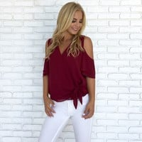 Ice Cold Shoulder Blouse in Burgundy