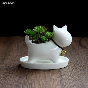 1pcs Cute Animal Potted Flowers Gardening Succulent Planter Pot White Ceramic Flowerpot Lovely Animal Succulent Plants Flowerpot