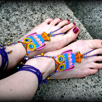 Owl Barefoot Sandals - Handmade Bohemian Cotton Fabric Jewelry - L1 Model