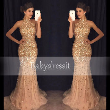 Sparkly Halter Long Prom Dresses Crystals Sleeveless Tulle Off the Shoulder New Arrival Girl Champagne Custom Mermaid Prom Dress