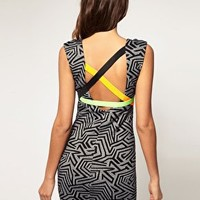 ASOS | ASOS Body-Conscious Printed Dress with Neon Strapping at ASOS
