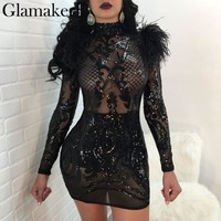 Glamaker Sexy transparent mesh mini dress Women fashion feather sequin evening party dress vestidos Long sleeve summer dress