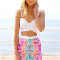 Multi Color Paradise Print High Waisted Shorts