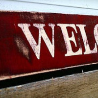 Welcome Sign Red Rustic Pallet Board Sign