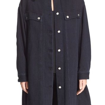 MM6 Maison Margiela Oversize Denim Jacket with Faux Shearling Collar | Nordstrom