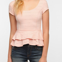 Lucca Couture Eyelet Peplum Top