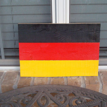 "German Flag from Reclaimed Wood - 15"" x 10"" - Octoberfest Beergarden Decor"