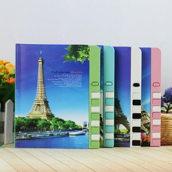 Mercii New Arrival Password Diary Color Page Lockable Notebook Stationery 2-illust Notepad Paris The Eiffel Tower Children Diary