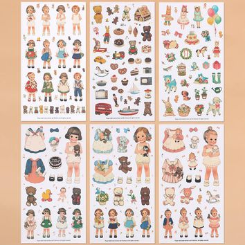 6PCS south korea paper doll girls transparent PVC diary binder  stickers cartoon stickers