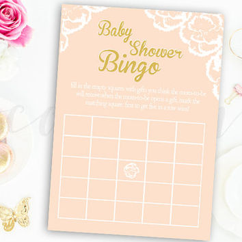 Bingo Baby Shower Game Pink and Gold Flower Floral Baby Shower Bingo Game Printable Instant Download Digital Girl Baby Shower Games